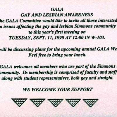 Gay and Lesbian Awareness Association Invitation (1990)