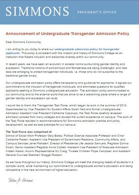 Announcement of Undergraduate Transgender Admission Policy (2014)